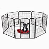 PetDanze Dog Pen Metal Fence Gate Portable Outdoor | Heavy Duty Outside Pet Large Playpen Exercise RV Play Yard | Indoor Puppy Kennel Cage Crate Enclosures | 32″ Height 8 Panel