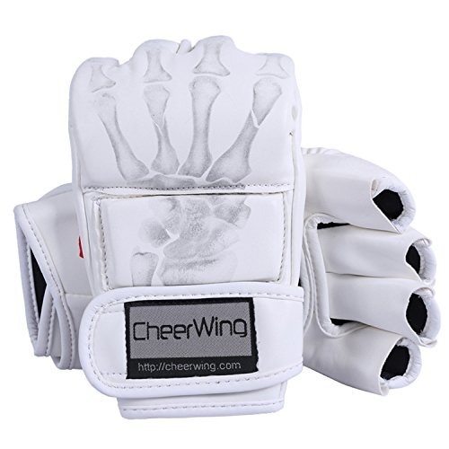 Cheerwing Half Finger Boxing Gloves MMA UFC Sparring Grappling Fight Punch Ultimate Mitts Leather Gloves