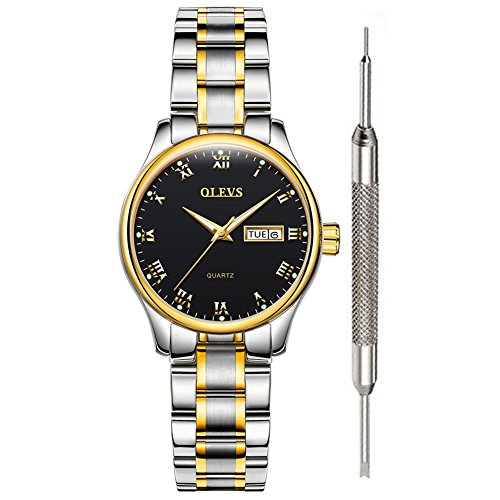 Black Women Watches on Sale Clearance Black Watch for Women Waterproof with Date Stainless Steel Wrist Watch Fine Classic Roman Numeral Luminous Watches with Date Week Lovers Classic Women Clock OLEVS