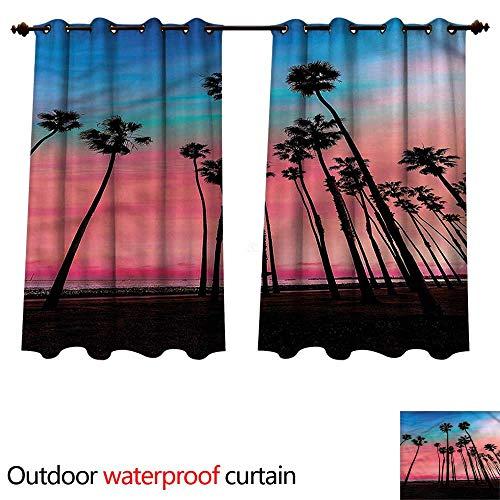 - cobeDecor Palm Tree Outdoor Curtains for Patio Sheer Santa Barbara Holiday W96 x L72(245cm x 183cm)