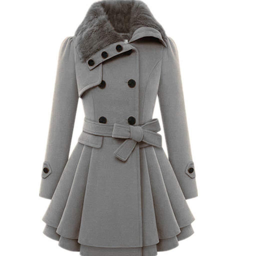 Chaofanjiancai Womens Winter Warm Lapel Wool Coat Trench Jacket Long Sleeve Button Pocket Overcoat Outwear with Belt (XL, Gray03) by Chaofanjiancai_Coat