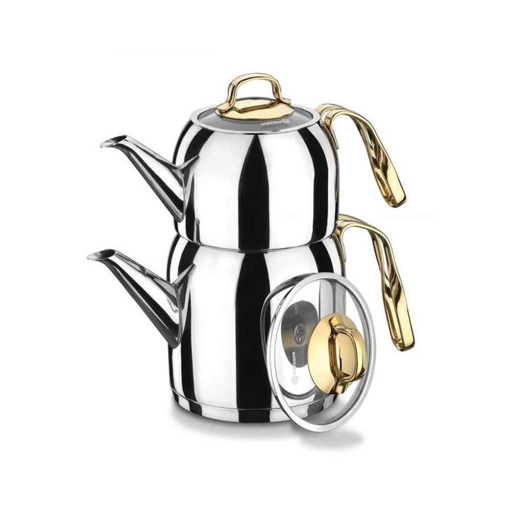 Korkmaz A193 Goldia 18/10 Stainless Steel Double Teapot Samovar Turkish Tea Pot Set