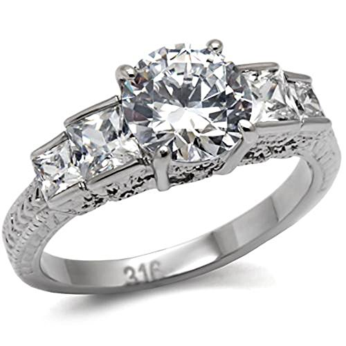 FlameReflection Stainless Steel Round Cubic Zirconia Solitaire w Princess CZ Accent Wedding Ring Size 5-10 SPJ