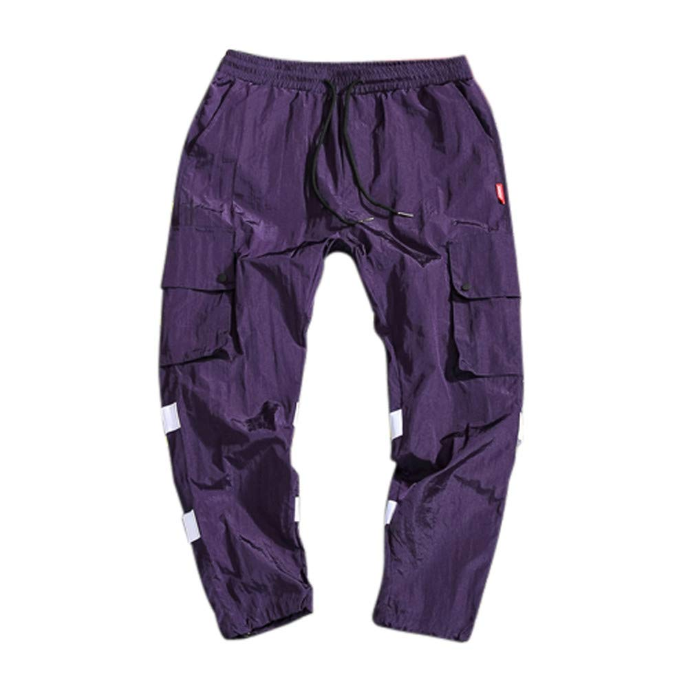 Geetobby Men Trouser Multi-Pocket Loose Quick-Drying Pant Elastic Waist Casual