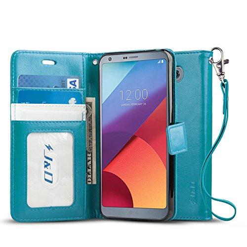LG G6/LG G6 Plus Case, J&D [Wallet Stand] [Slim Fit] Heavy Duty Protective Shock Resistant Flip Cover Wallet Case for LG G6, LG G6 Plus - Aqua