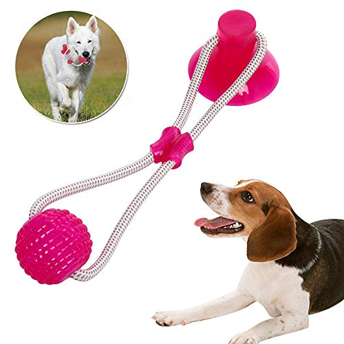 Pet Molar Bite Toy with Suction Cup Self-Playing Rubber Chew Ball Toy Interactive Dog Ropes Toy Cleaning Teeth Safe Soft…
