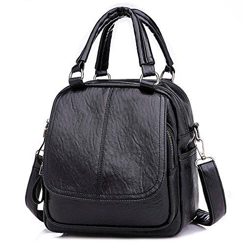 sac fille à à en Mode femmes messager Noir cartable mode Sac JIANGfu cuir à de étudiant Cabas Main dos sac Vintage Sac voyage main Femme Femme gqwwTa6Ox