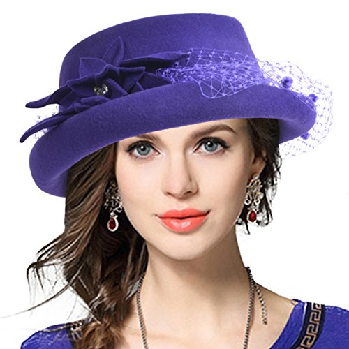 Noble 100% Wool Felt Pillbox Hat Fascinator Cocktail Party Wedding Dress Hat (Purple)