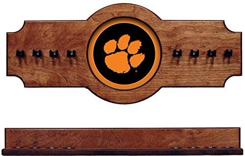 (wave NCAA Clemson Tigers CLMCRR100-P 2 pc Hanging Wall Pool Cue Stick Holder Rack - Pecan)