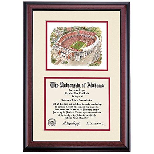 Campus Linens Alabama Crimson Tide Diploma Frame Ivory Crimson Matting Bryant-Denny Stadium Watercolor Alabama Bryant Denny Stadium