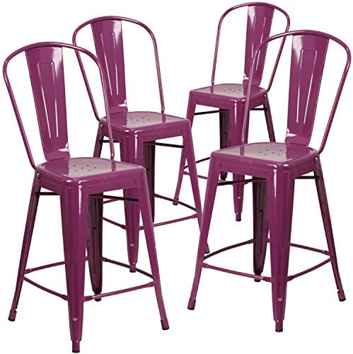 Flash Furniture Commercial Grade 4 Pack 24″ High Purple Metal Indoor-Outdoor Counter Height Stool
