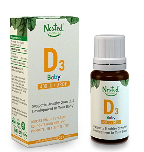 VITAMIN D3 BABY DROPS 400 IU | 357 Pure Liquid D-Drops | Supplement for Infants, Babies & Kids with Organic Coconut Oil | Childrens Sublingual Low Dose Natural D Vitamins | Toddler, Infant & Kid Safe