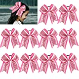 Large Glitter Cheer Bows Girls Pink White Ponytail Holders 7' Hair Bows Bulk Elastic Hair Ties Accessories for Cheerleaders Teens Women Teams Competition Sports Pack of 10