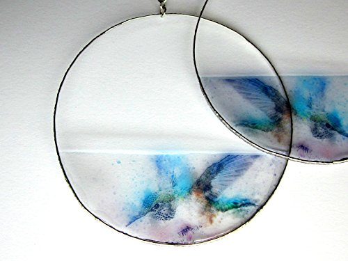 Shaped Sucker Rings (Hummingbird Earrings, Hoop, Drop or Dangle, Transparent Earrings, Resin Photo, Watercolor Image, Painted Jewelry, Gift for Her)