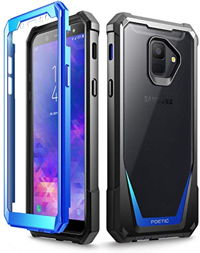 Galaxy A6 Case, Poetic Guardian [Scratch Resistant Back] [Built-in-Screen Protector] Full-Body Rugged Clear Hybrid Bumper Case for Samsung Galaxy A6 (2018) (Do not fit Galaxy A6 Plus) - Blue