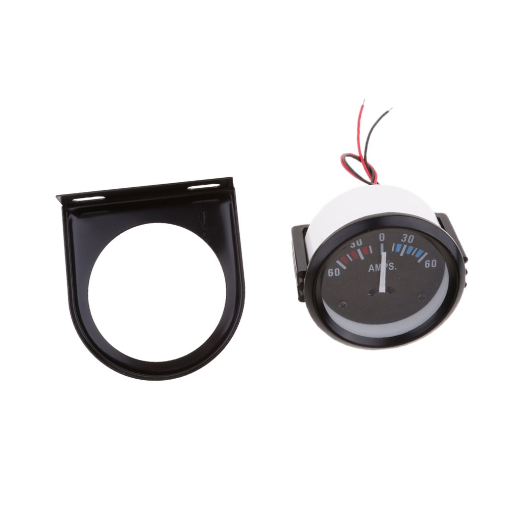 MonkeyJack 52mm DC12V Car AMPS Meter Ammeter Pointer 60-0-60A White LED Light Universal