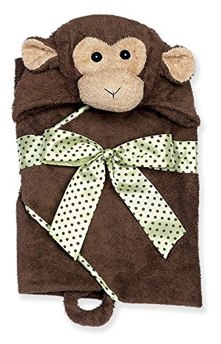 Bearington Baby Giggles Monkey Hooded Bath Towel, Brown 24'' x 24'' by Bearington Collection