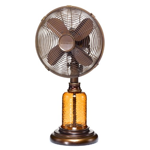 Deco Breeze DBF0674 Table Fan, Amber Glass, 10-Inch