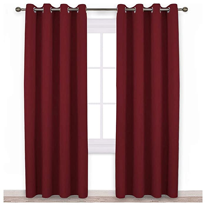 NICETOWN Burgundy Blackout Curtains Grommet - Home Decorations Thermal Insulated Solid Grommet Top Blackout Living Room Panels / Drapes for Gift (One Pair, 52 x 84-Inch, Red)