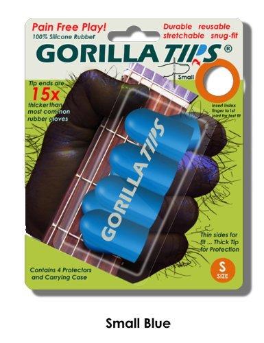 Small Blue GORILLA TIPS fingertip guards/protectors for Guitar, Banjo, mandolin, etc.
