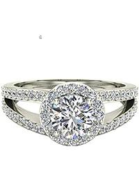 Split Shank Halo Engagement Ring Diamond Round Center 1.40 ctw 14K Gold (H,I1)
