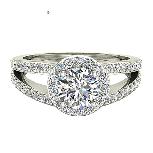 (Engagement Ring 14K White Gold Round Brilliant Split Shank Halo Diamond 1.40 carat total weight (Ring Size 5))