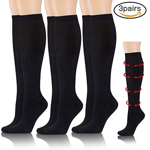 Compression Socks for Women & Men For Athletic Nurses Edema Diabetic Varicose Veins Pregnancy Travel Office Sport Running Socks Stockings (15-20mmHg) (3 Pairs-Black, S/M) (Women Running Compression Socks)