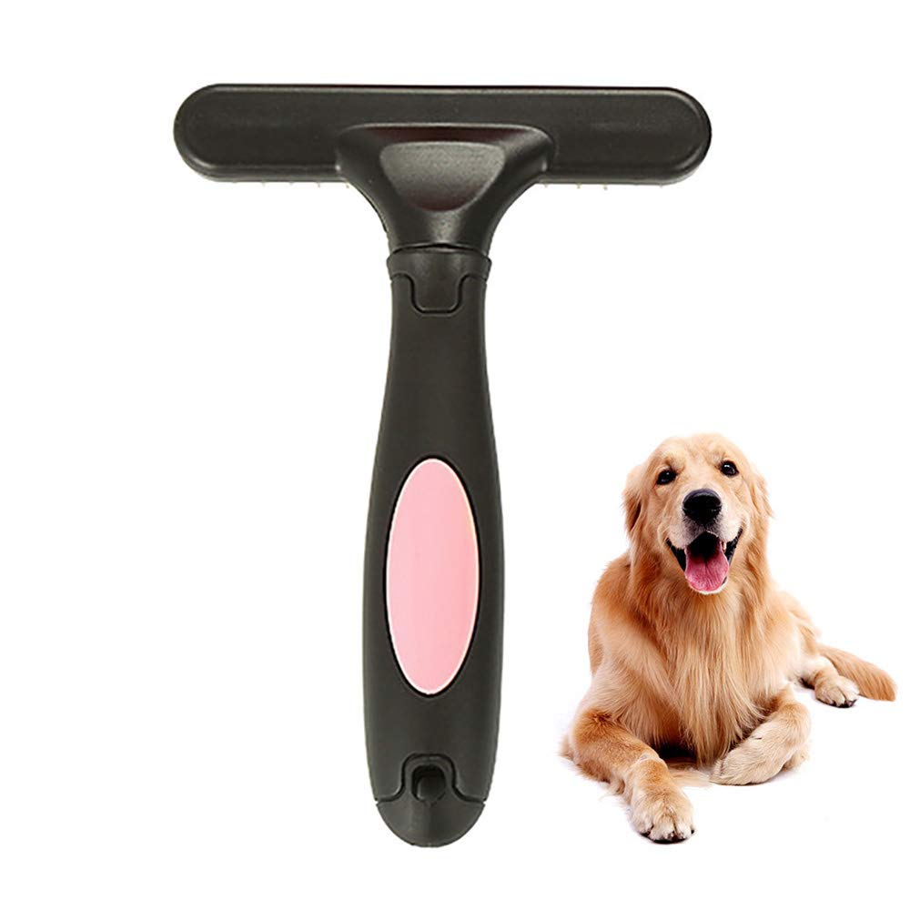 KGAQ Double Row Pins Professional Horses Undercoat Rake Cats Loosen Wet Dry Use Grooming Pet Supplies Dog Comb Rabbits Brushing,Pink by KGAQ