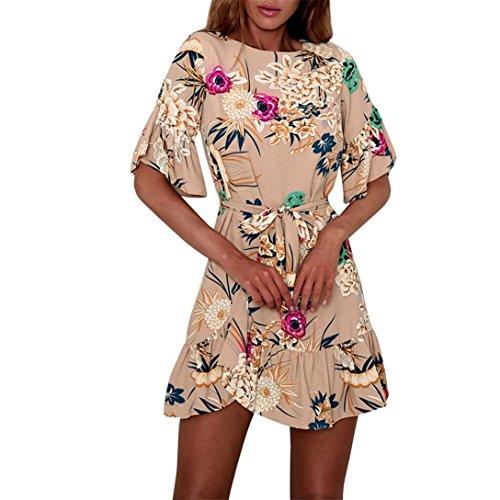 Kword Floreale Spiaggia Estivo Boho Cintura Stile stile Con Elegante Vestito Manica Corta Skater Khaki Cocktail Stampa Maxi Abito Donna A Casual abito 7rw6f7