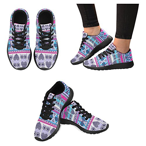 Interestprint Femmes Jogging Running Sneaker Léger Aller Facile Marche Confort Décontracté Sport Chaussures De Course Modèle Aztèque Ethnique Hiboux Coloré Ornemental Multi 1