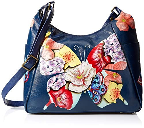 Anna by Anuschka Hand Painted Leather Women's Large Multi Pocket HOBO, Butterfly Mosaic