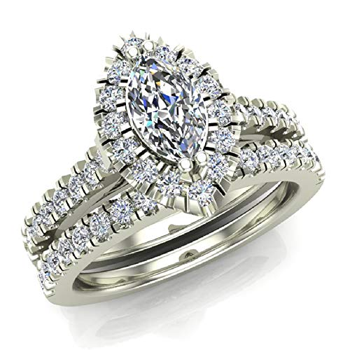 Marquise Cut Halo Diamond Wedding Ring Set 1.25 Carat Total 14K White Gold (Ring Size 5.5)