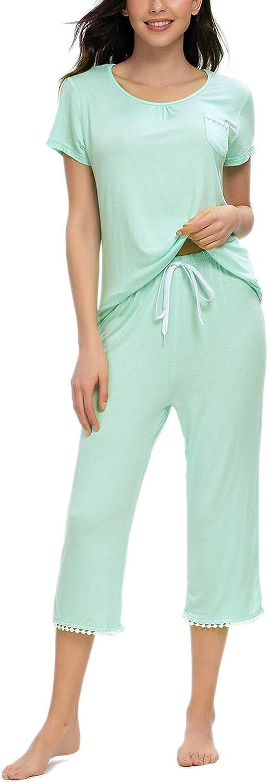MINTLIMIT Damen Schlafanzug Sommer Pyjama Kurze /Ärmel Caprihose Nachtw/äsche Hausanzug Sleepwear