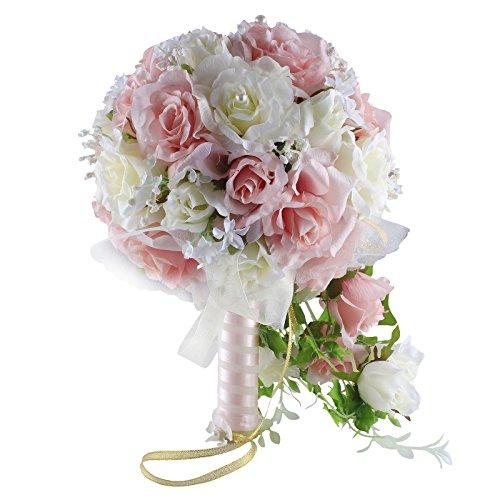 Zebratown Waterfall Bride Bouquet Elegant Pink White Artificial Rose Flower Wedding Bridal Bridesmaids Bouquets (Pink)