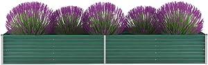 FAMIROSA Garden Raised Bed Galvanized Steel 126x31.5x17.7 Green