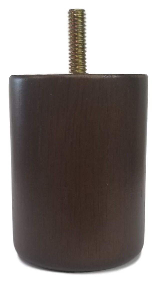 Elegent Upholstery 3'' Walnut Cylinder/Cylindrical Design Sofa/Couch/Chair Wood Legs [5/16 Bolt] - Set of 4