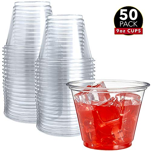 50 Clear Plastic Cups   9 oz Plastic Cups   Clear Disposable Cups   PET Cups   Clear Plastic Party Cups   Crystal Clear Plastic Cups