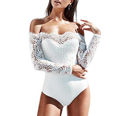 Sumtory Thong Jumpsuits For Women Long Sleeve One Piece Romper Bodysuit White L