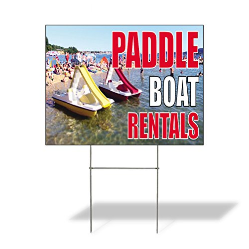 Paddle Boat Rentals #1 Outdoor Lawn Decoration Corrugated Plastic Yard Sign - 18inx24in, Free Stakes