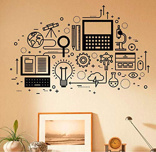 wsydd Computer Technology Wall Decal Vinyl Sticker Science Education Home School Classroom Art Decor Self-Adhesive Murals 89x57cm (Holz 4 Sie)