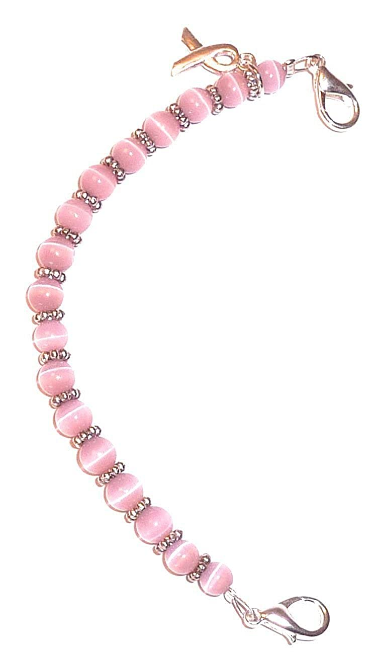Hidden Hollow Beads Breast Cancer Awareness Women's Medical Alert ID Interchangeable Replacement Bracelet B00YFOT33C_US