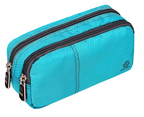Large Pencil Case Office Supplies - Durable Student Office Pen Holder Organizer Stationary Bag with Double Zippers Multi Big Capacity Compartments for Adults Girls Boys (Green-Upgrade)