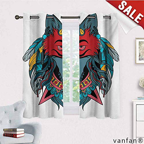 (Big datastore Pattern DIY Available Curtain,Tribal,Ethnic Warrior Wolf Portrait with Mask Feathers Native American Animal Art,with Solid Grommet Top Teal White and Red,W63)