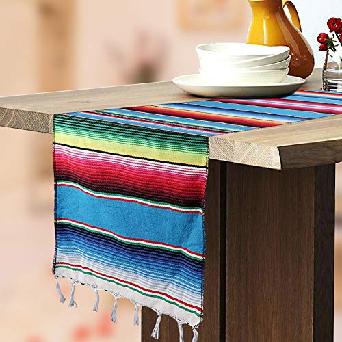 Hokic Mexican Table Runner Fringe Cotton Handwoven Mexican Serape Blanket Table Runner Mexican Fiesta Party Supplies Day of The Dead Party Decorations 14 x 84 Inch ()