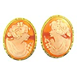 14 Kt Yellow Gold Cameo Earrings Vintage Style