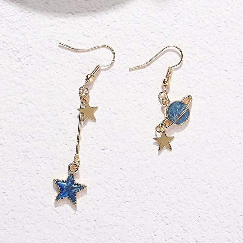Price comparison product image WTYKD 2018 Star Earring Student Girl Heart Moon Stars no Pierced Ear Clip Earrings Earring Dangler Eardrop (t862 Universe Star Earrings