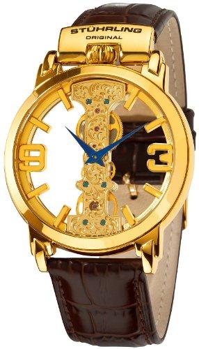 Stuhrling Original Men's 165E.3335K31 Classic Winchester Spire Mechanical Skeleton Gold Tone Watch