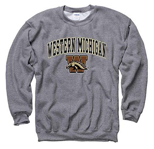 Campus Colors Western Michigan Broncos Arch & Logo Gameday Crewneck Sweatshirt - Sport Gray