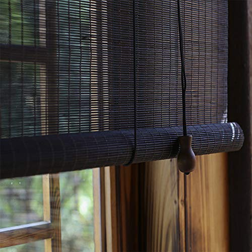 YUANJJ Bamboo Roller Blinds - Black Roman Curtains - Curtains - Door Curtains, Blackout Shades, Indoor/Outdoor Hanging Ornaments, Can Be Customized (Wooden Venetian Door Patio Blinds)