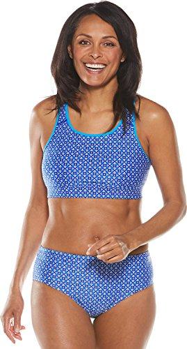 6bad7d720e Coolibar UPF 50+ Women s Medley Swim Bra - Sun Protective (Small- Baja Blue